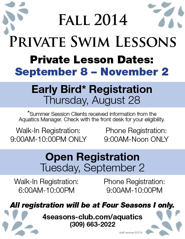 Private Group Swim Lessons Fall 2014
