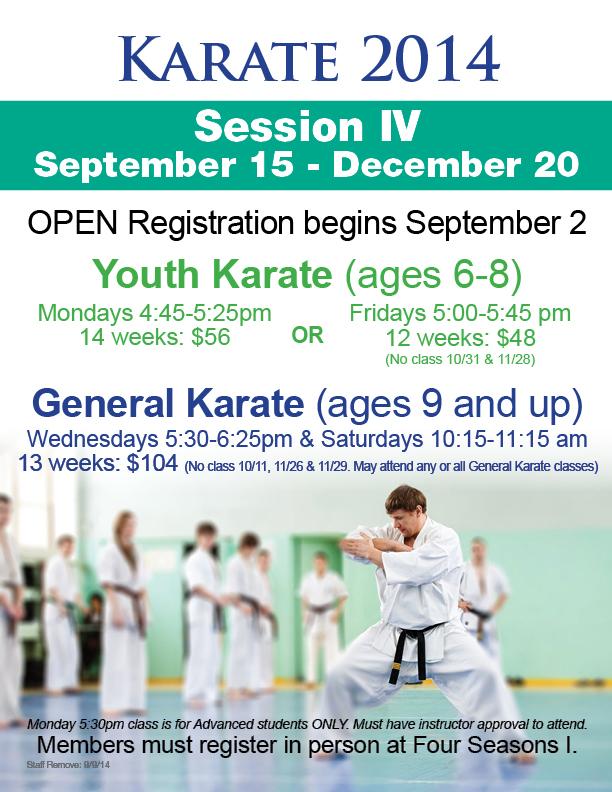 Karate Registration @ Four Seasons I