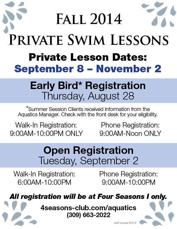 Private Swim Lesson Registration @ Four Seasons I