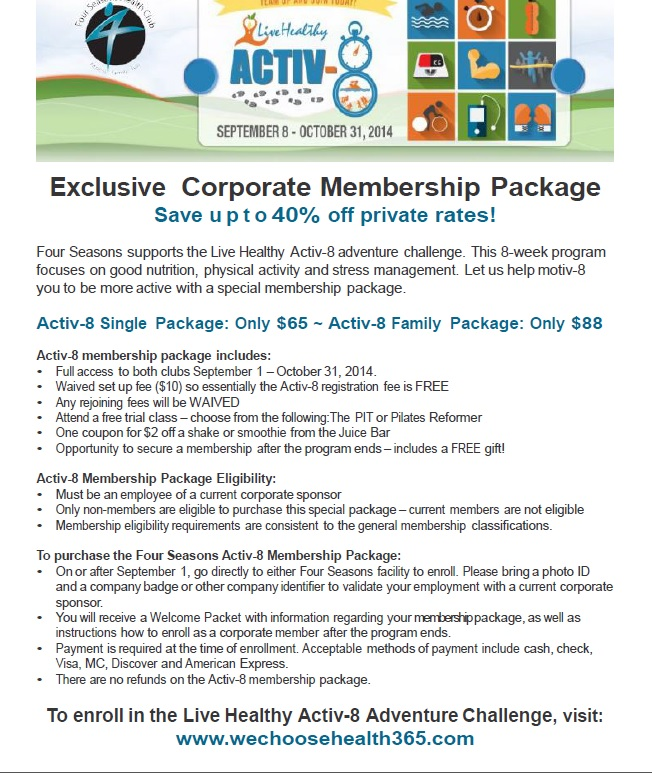 Activ-8 Corporate Sponsor Employee Membership Promotion