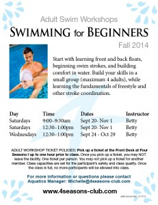 Adult Beginner Swim Workshops Fall 2014