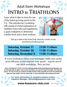 Adult Triathlon Workshops Fall 2014