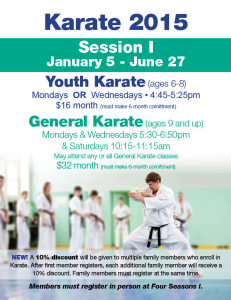 Register for Karate! @ Four Seasons I