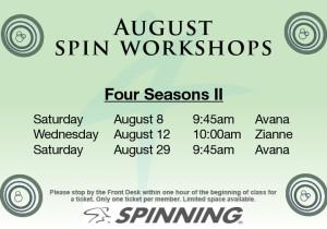 August Spin Workshops @ Four Seasons II