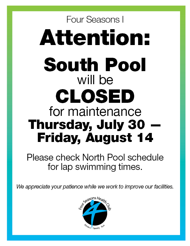 South Pool Closed for Maintenance