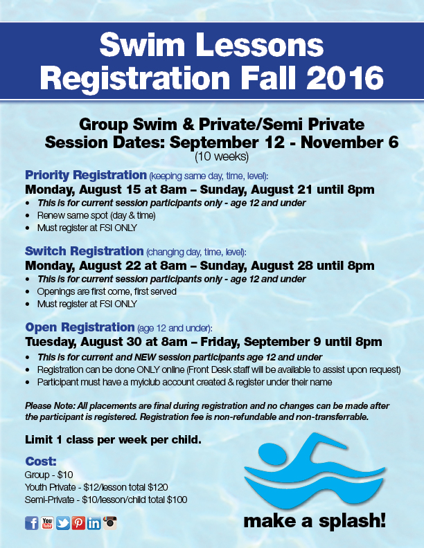 Fall Swim Lessons Registration @ FSI
