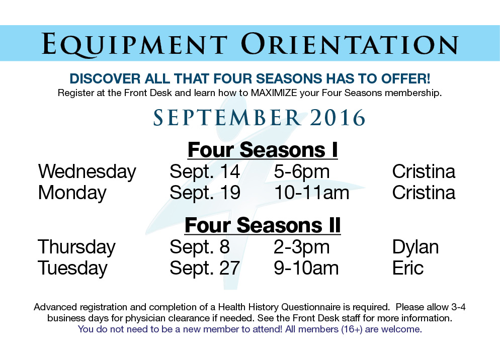 September Equipment Orientations