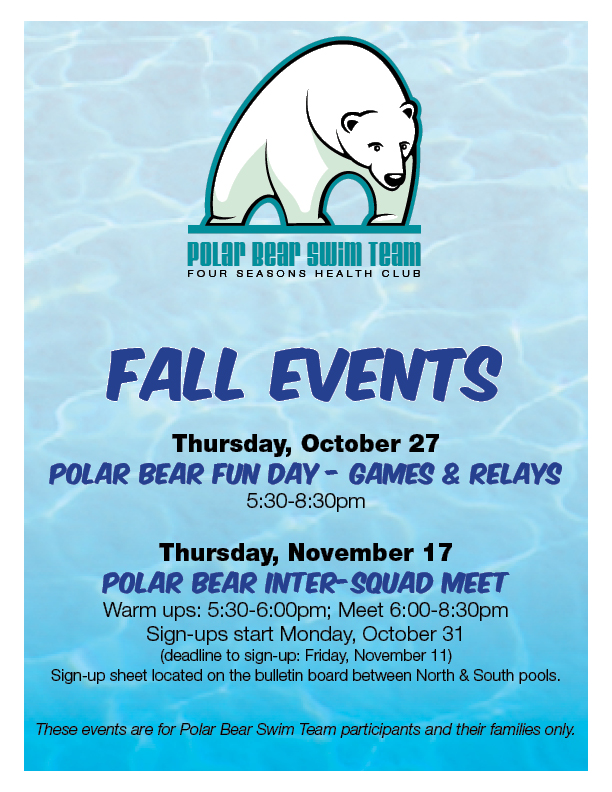 Polar Bear Fall Events @ All lanes in South Pool will be used for this event
